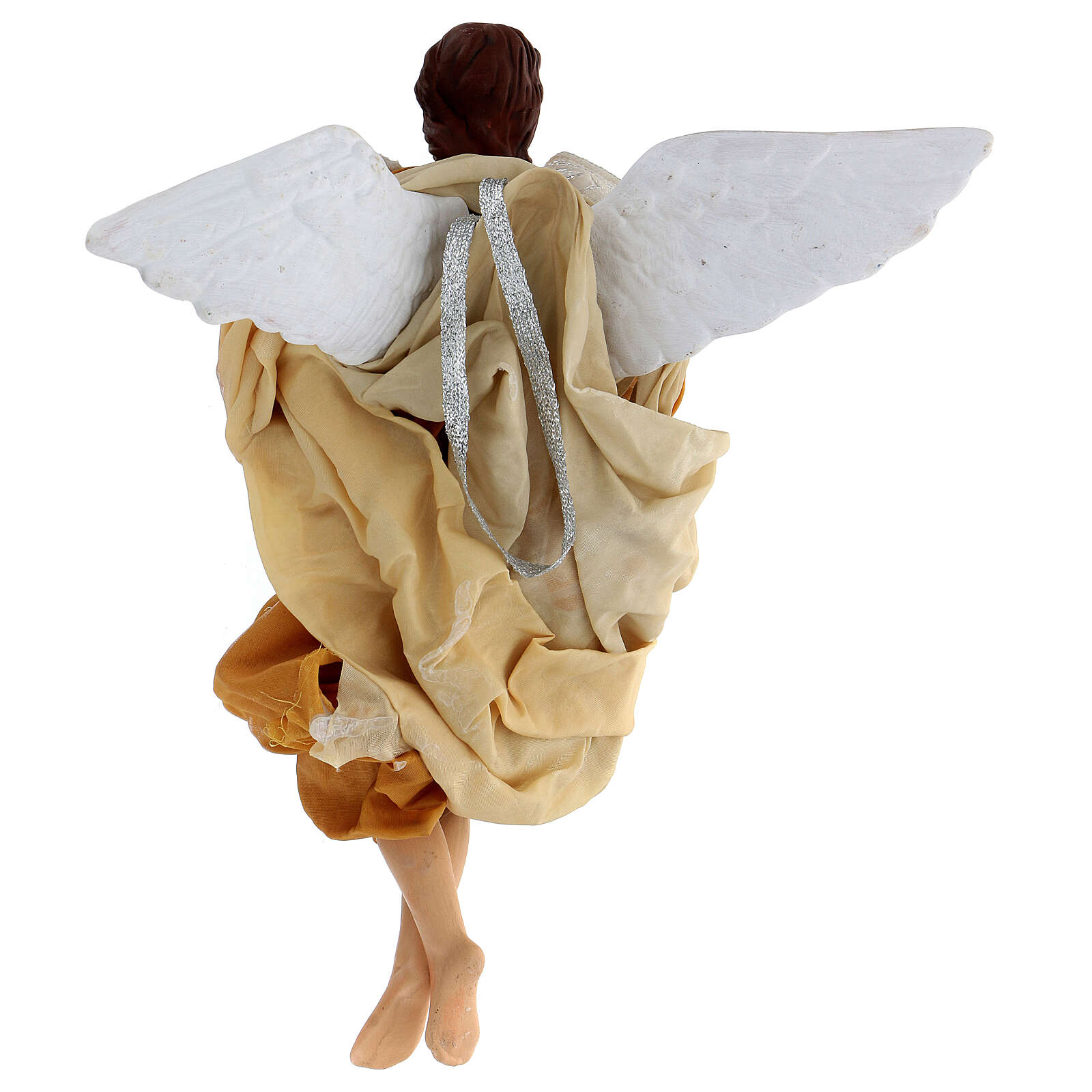 Gold angel with curved wings, figurine for Neapolitan Nativity, 30cm 4
