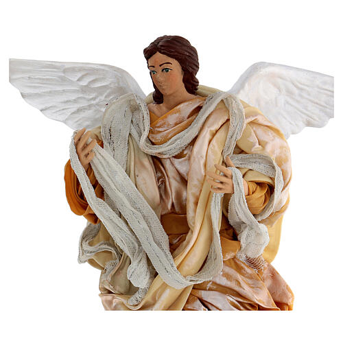 Gold angel with curved wings, figurine for Neapolitan Nativity, 30cm 2