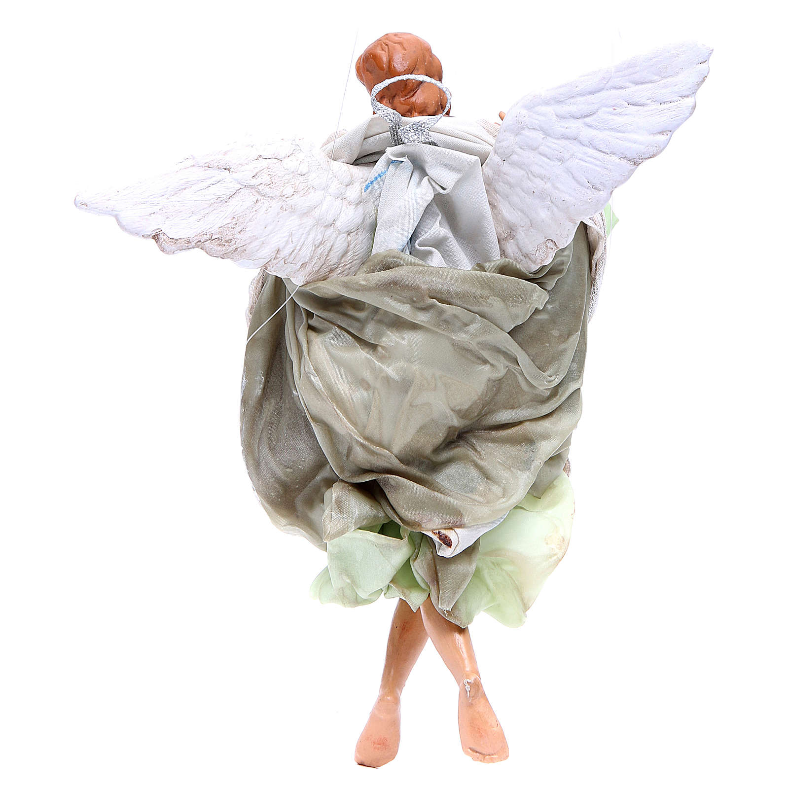 Green angel with curved wings, figurine for Neapolitan Nativity, 30cm 4