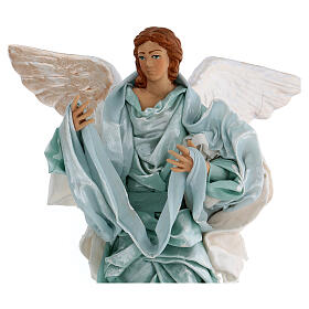Green angel with curved wings, figurine for Neapolitan Nativity, 30cm s2