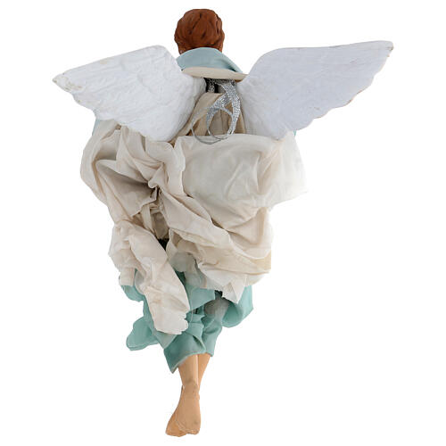 Green angel with curved wings, figurine for Neapolitan Nativity, 30cm 3