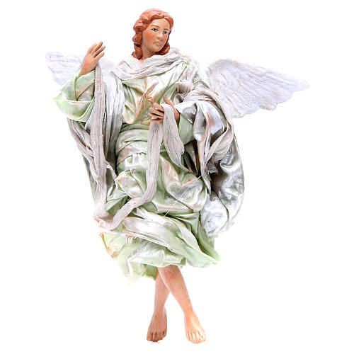 Green angel with curved wings, figurine for Neapolitan Nativity, 30cm 1