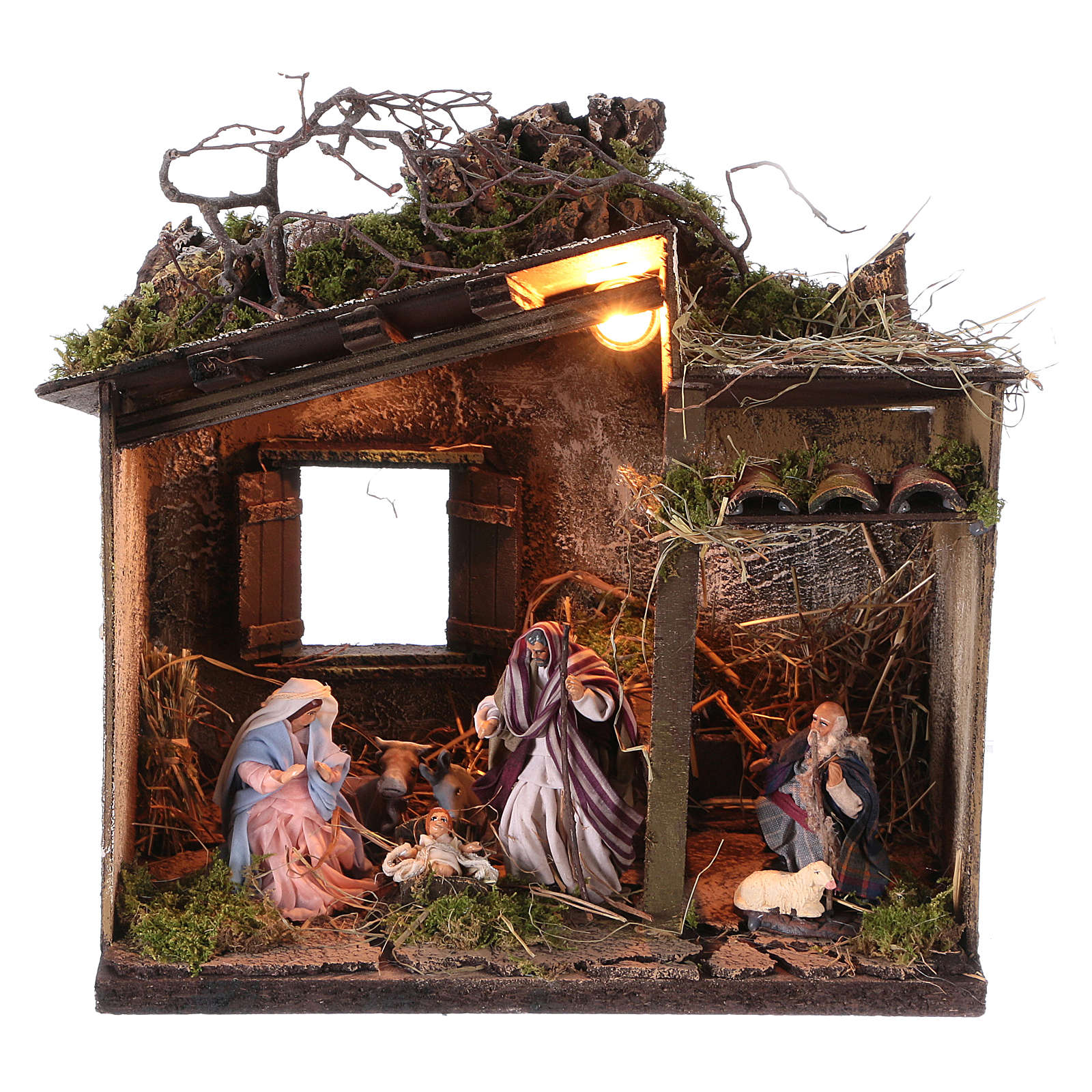 Nativity with shepherd and setting measuring 10cm for Neapolitan Nativity 4
