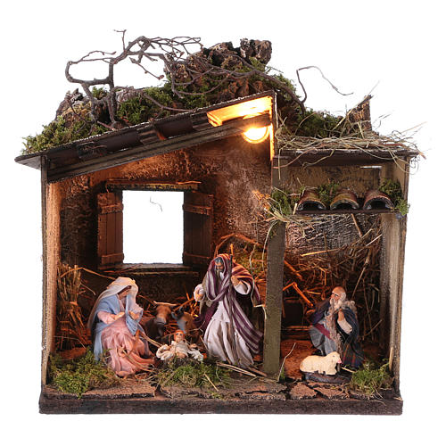 Nativity with shepherd and setting measuring 10cm for Neapolitan Nativity 1
