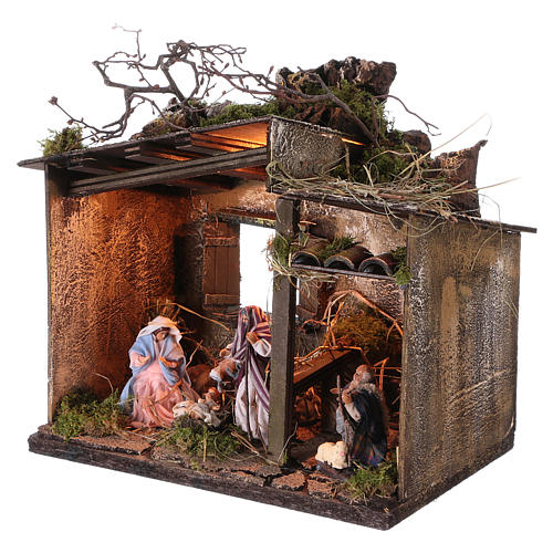 Nativity with shepherd and setting measuring 10cm for Neapolitan Nativity 2