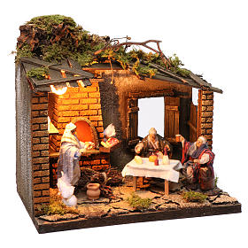 Pizzeria scene with 3 characters, animated for Neapolitan Nativity, 12cm s3