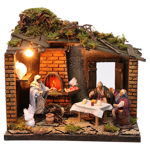 Pizzeria scene with 3 characters, animated for Neapolitan Nativity, 12cm 1
