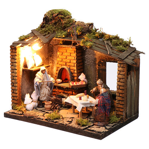Pizzeria scene with 3 characters, animated for Neapolitan Nativity, 12cm 2