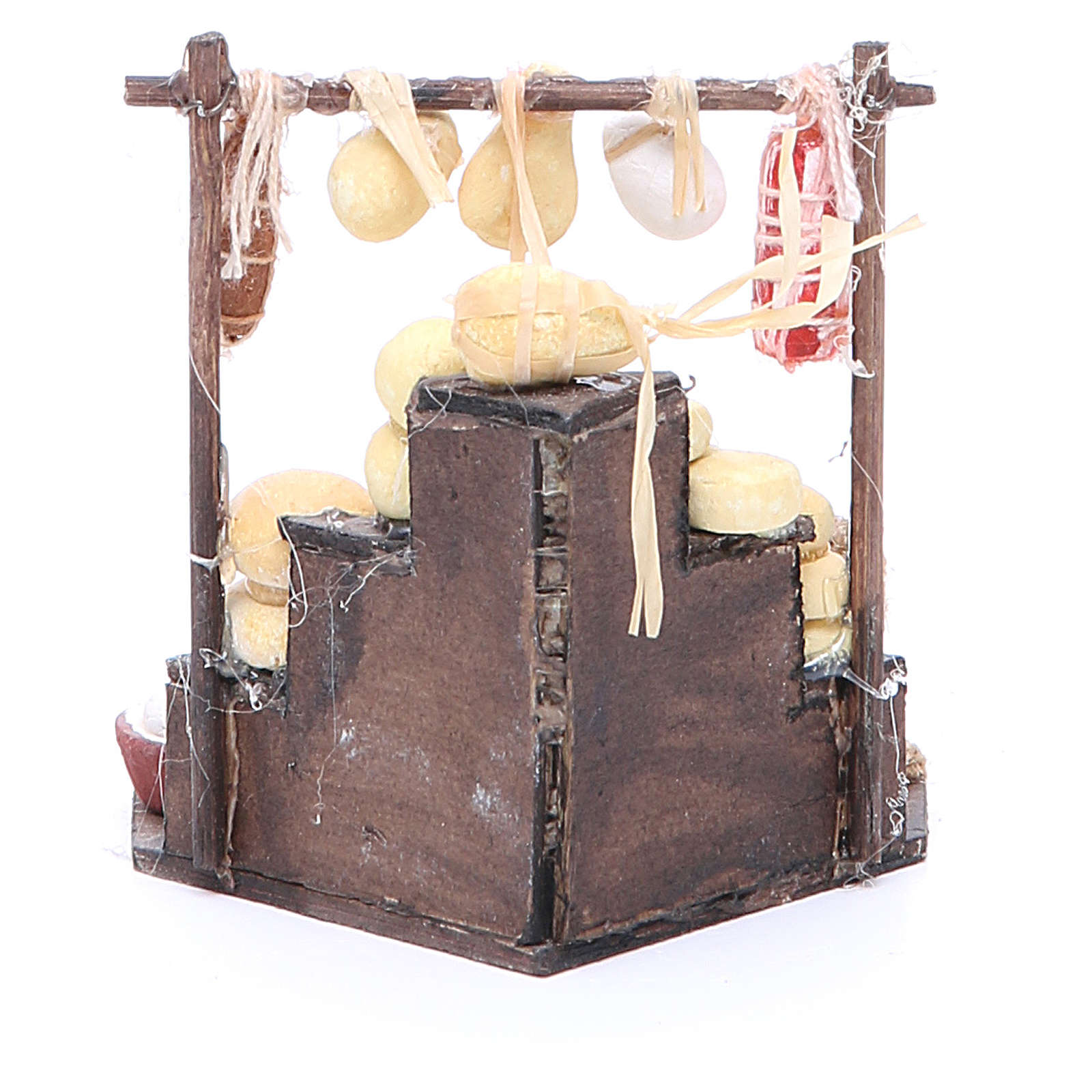 Cured meat stall for Neapolitan Nativity, measuring 7x12x7cm 4