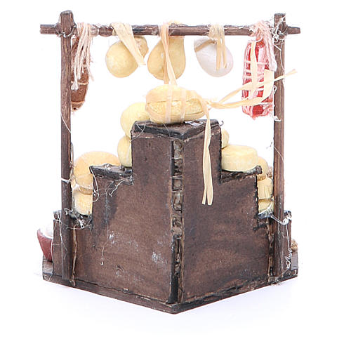 Cured meat stall for Neapolitan Nativity, measuring 7x12x7cm 3