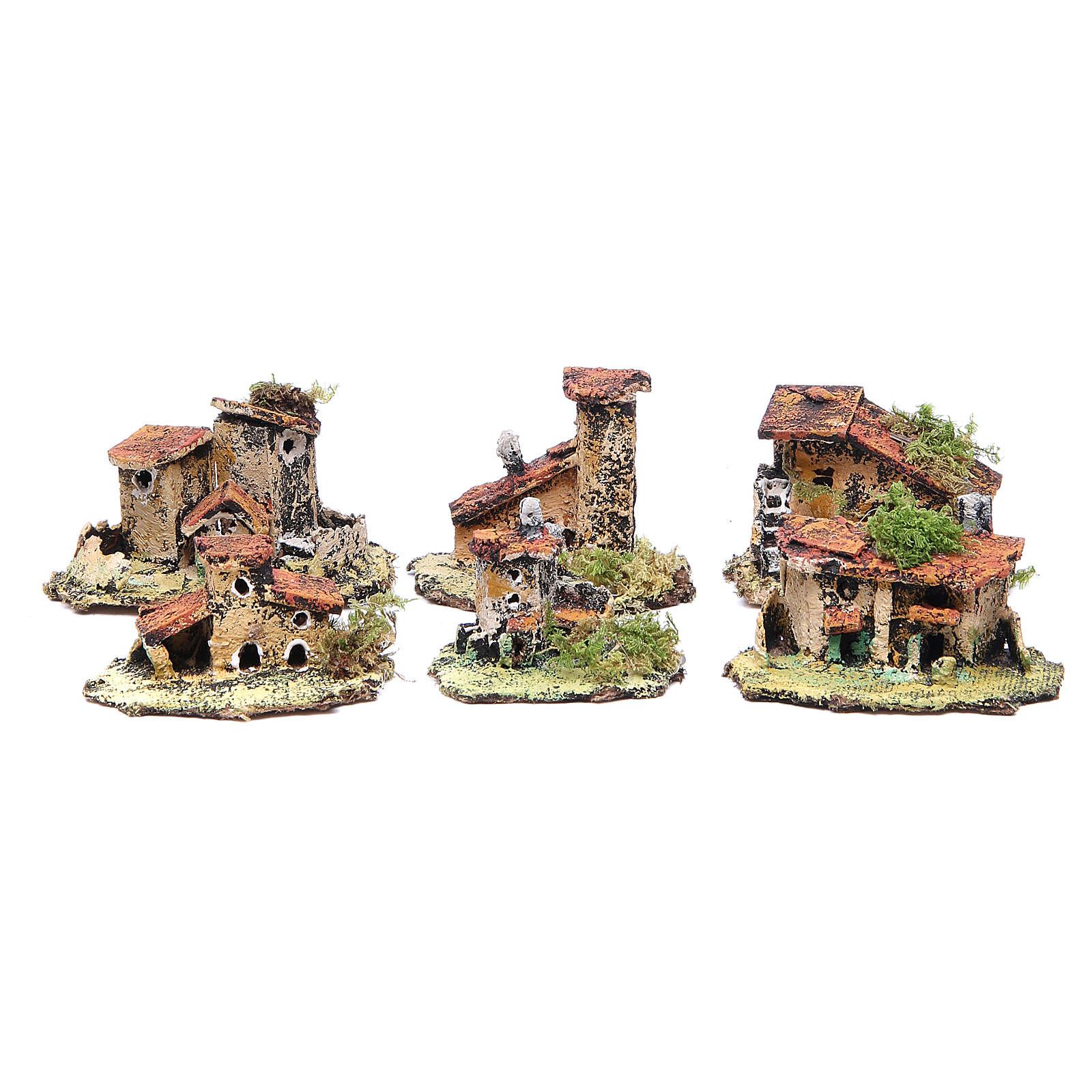 Kit of 6 houses for Neapolitan Nativity measuring 4x9x7cm 4