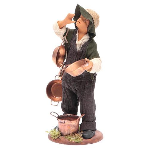 Neapolitan Nativity figurine Man with copper pans 14cm 2