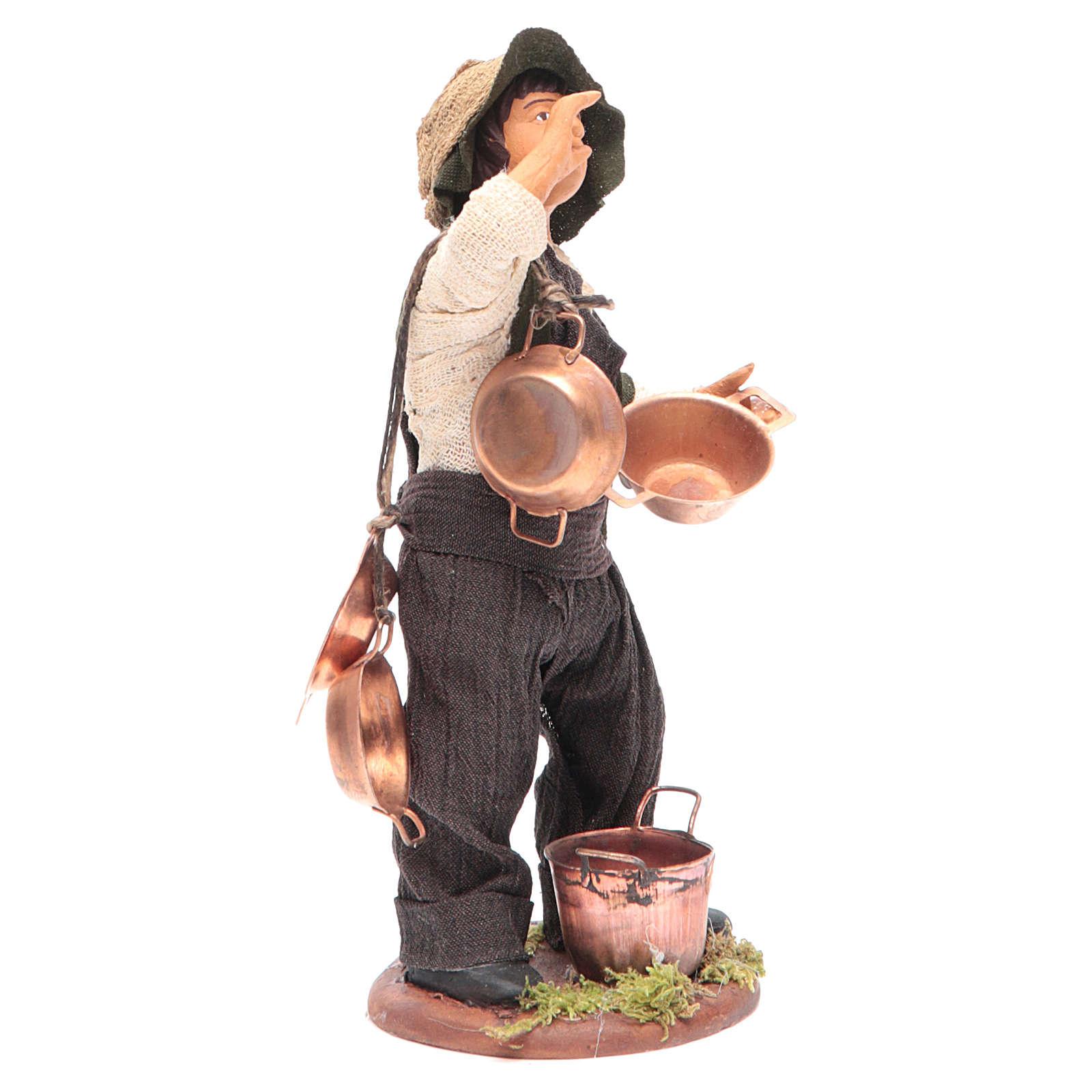 Neapolitan Nativity figurine Man with copper pans 14cm 4