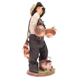 Neapolitan Nativity figurine Man with copper pans 14cm s3