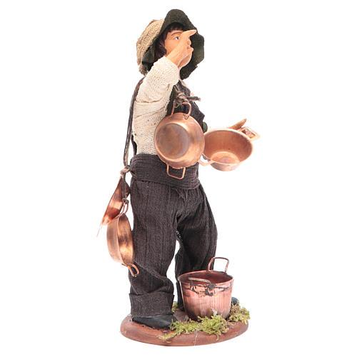 Neapolitan Nativity figurine Man with copper pans 14cm 3