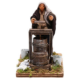 Neapolitan Nativity figurine Man making butter with tools 14cm s1