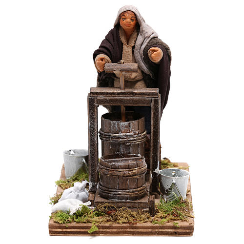 Neapolitan Nativity figurine Man making butter with tools 14cm 1