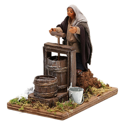 Neapolitan Nativity figurine Man making butter with tools 14cm 3