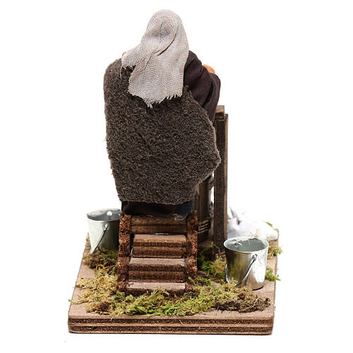 Neapolitan Nativity figurine Man making butter with tools 14cm 5