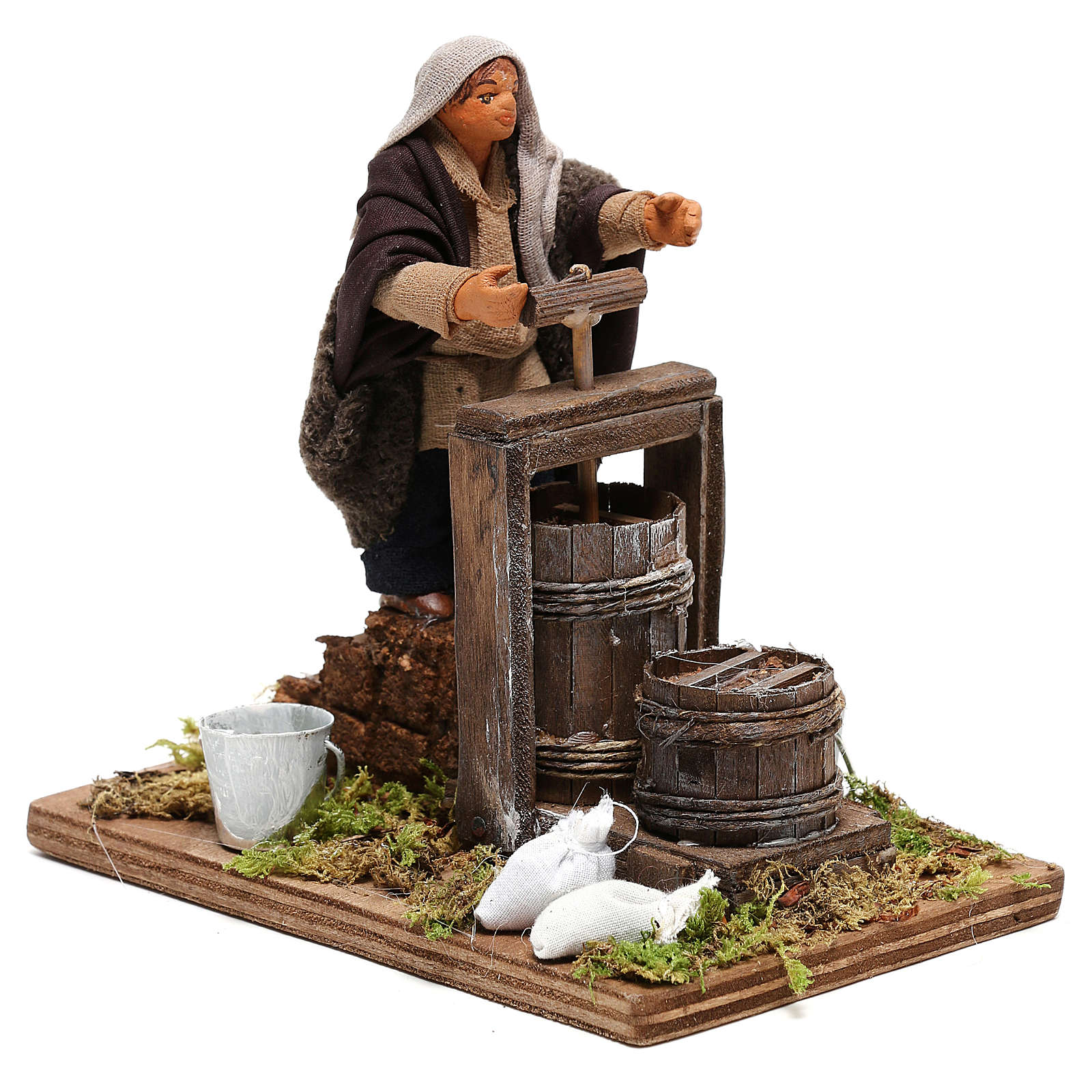 Neapolitan Nativity figurine Man making butter with tools 14cm 4