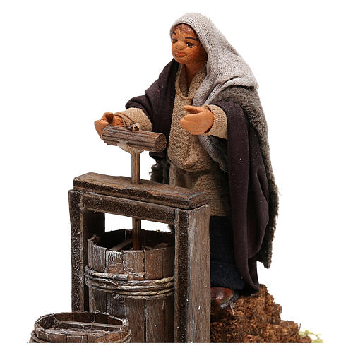 Neapolitan Nativity figurine Man making butter with tools 14cm 2