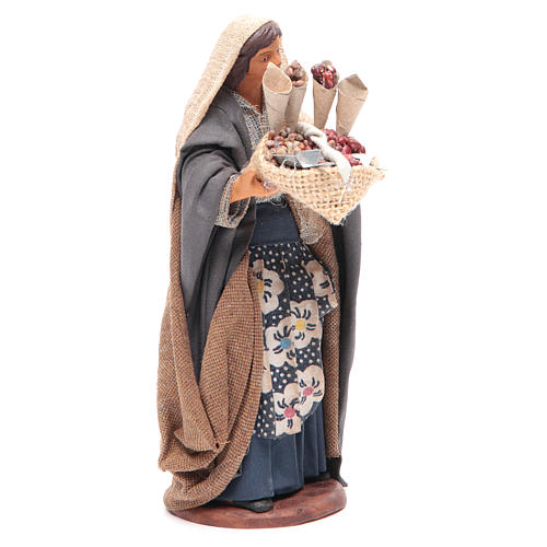 Donna con sacco di semi in mano 14 cm presepe napoletano 3