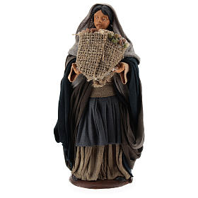 Neapolitan Nativity figurine Woman holding sack of seeds 14cm s1