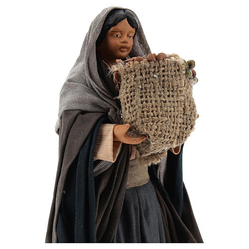 Neapolitan Nativity figurine Woman holding sack of seeds 14cm 2