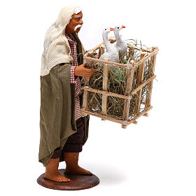 Animated Neapolitan Nativity figurine Man with cage of geese 14cm s4