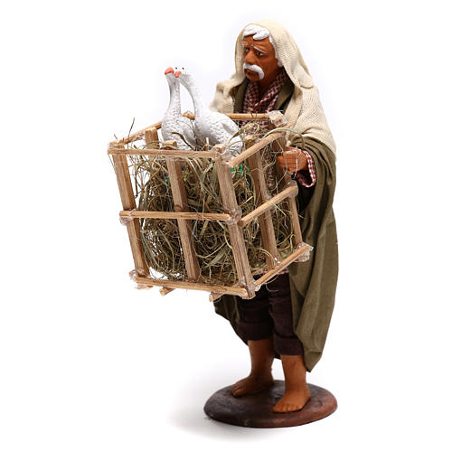 Animated Neapolitan Nativity figurine Man with cage of geese 14cm 3