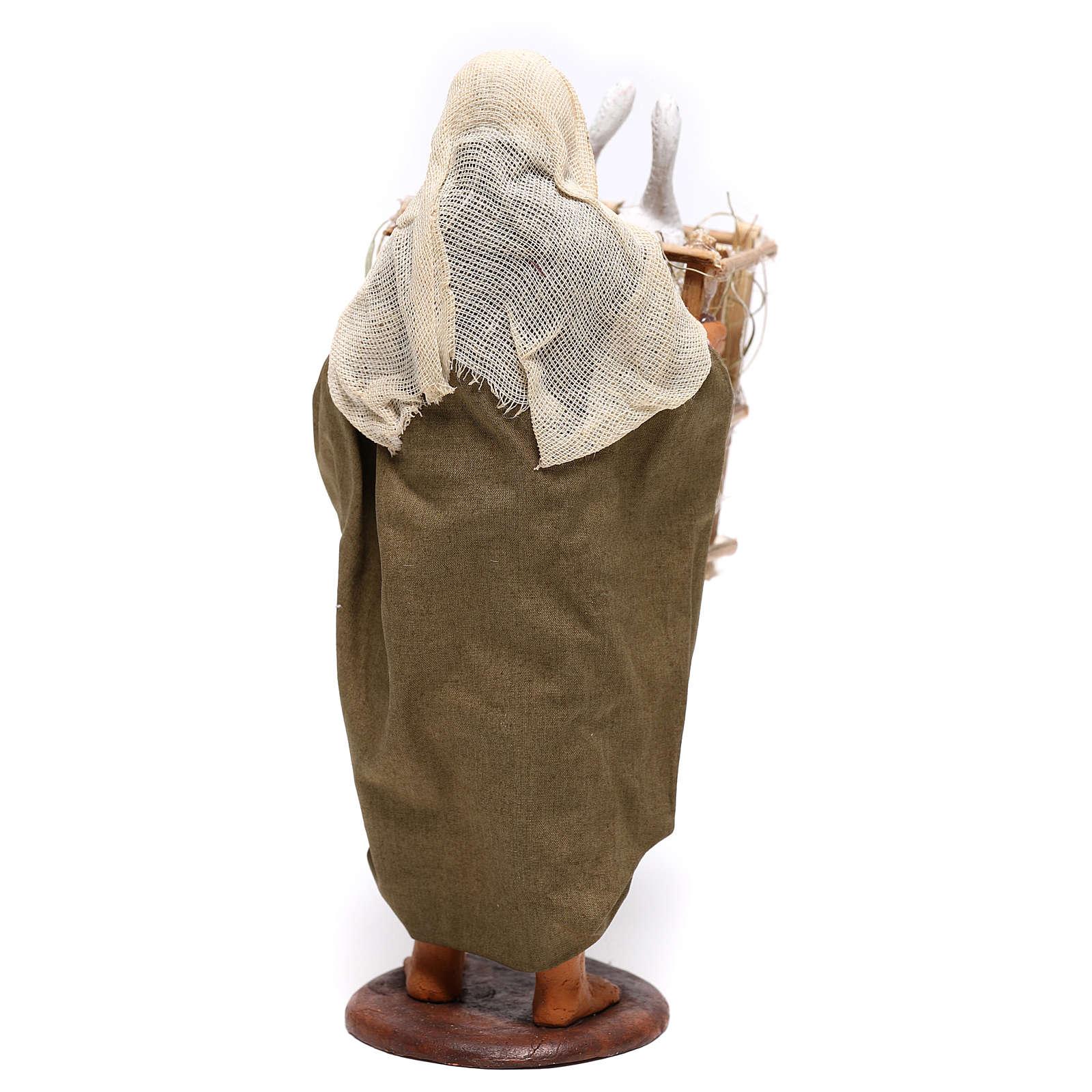 Uomo con gabbia di oche 14 cm presepe napoletano 4