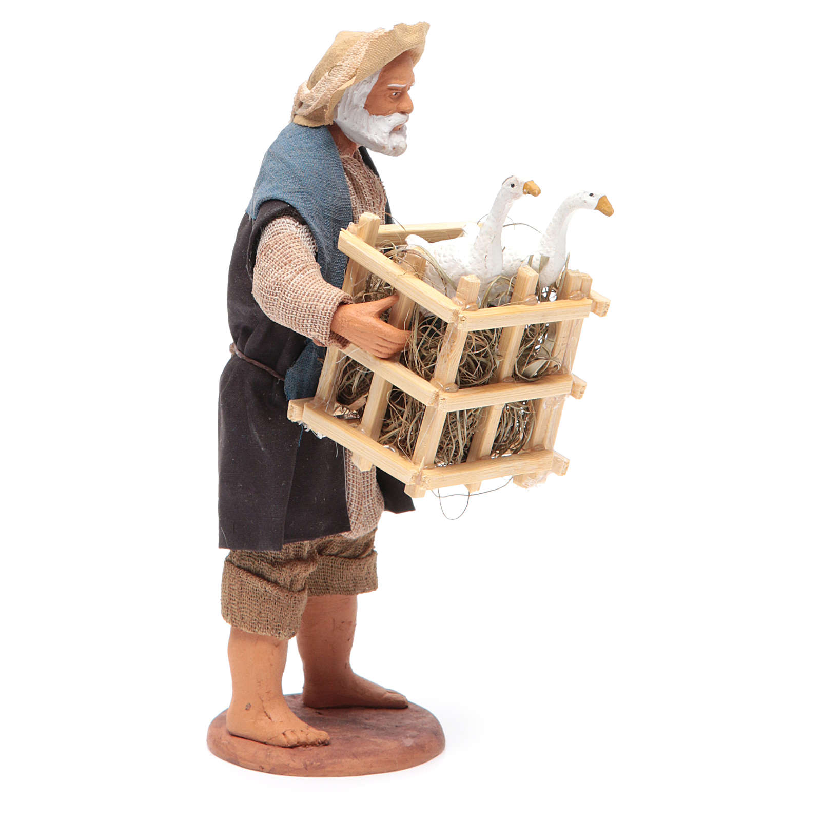 Animated Neapolitan Nativity figurine Man with cage of geese 14cm 4