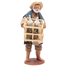 Animated Neapolitan Nativity figurine Man with cage of geese 14cm s1