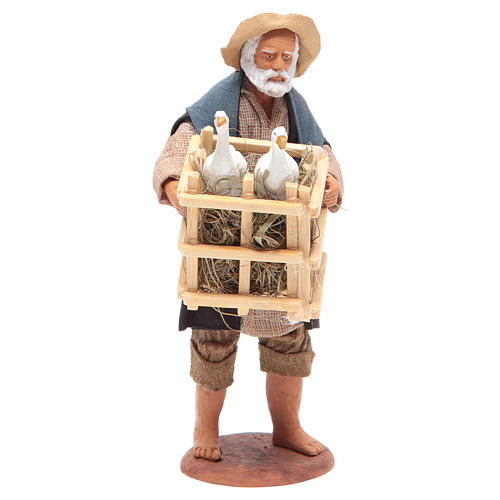 Animated Neapolitan Nativity figurine Man with cage of geese 14cm 1