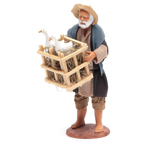 Animated Neapolitan Nativity figurine Man with cage of geese 14cm 2