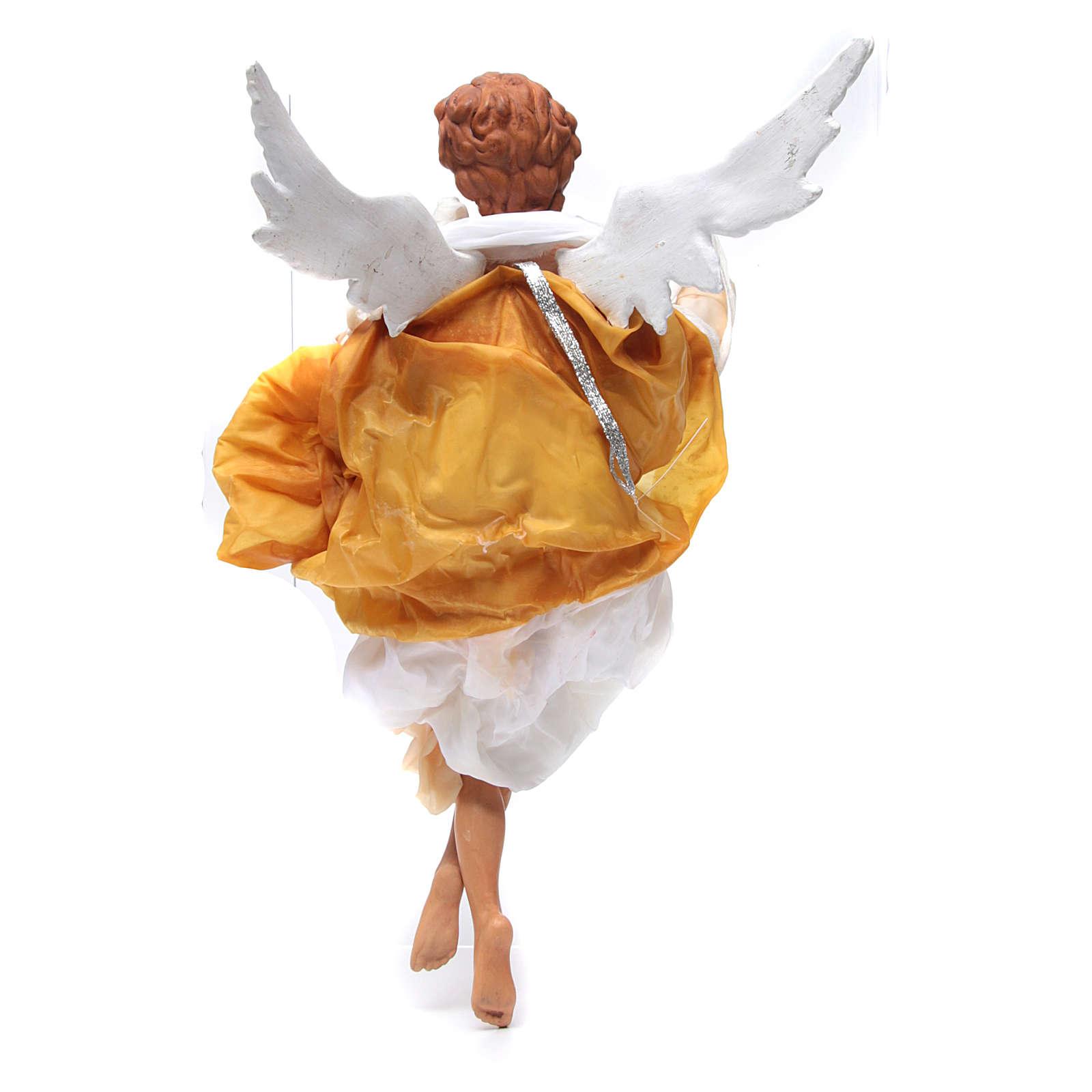 Ange blond 45 cm robe jaune crèche Naples 4
