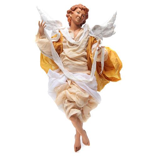 Ange blond 45 cm robe jaune crèche Naples 1