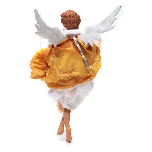 Angelo biondo 45 cm veste gialla presepe Napoli 3