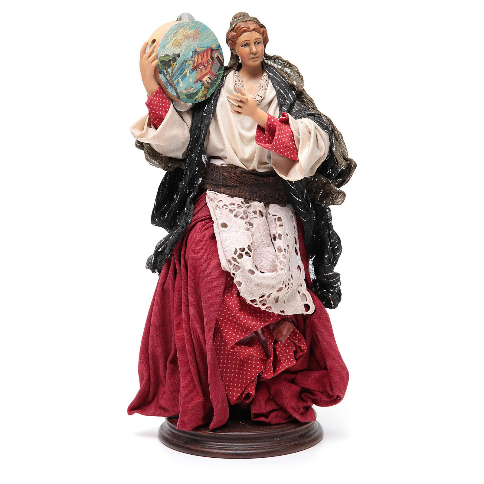 Femme avec tambour 30 cm crèche napolitaine 4