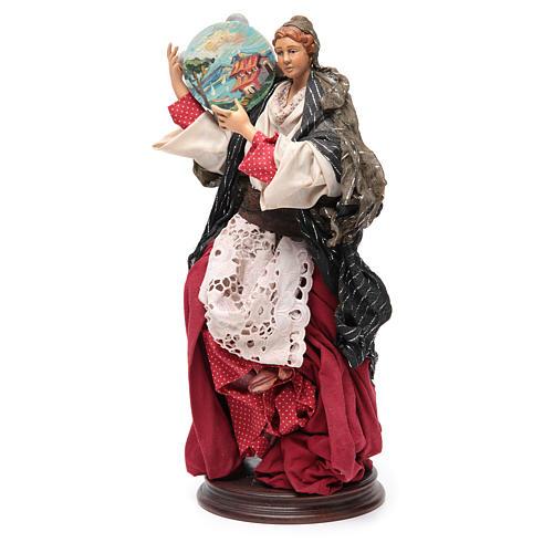 Femme avec tambour 30 cm crèche napolitaine 2