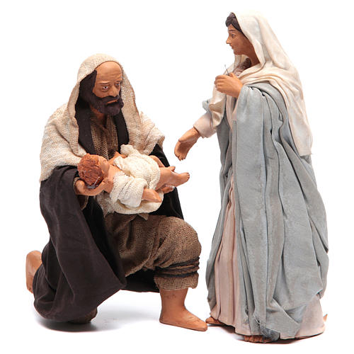 Holy Family kneeling 14cm, Neapolitan Nativity Scene 1