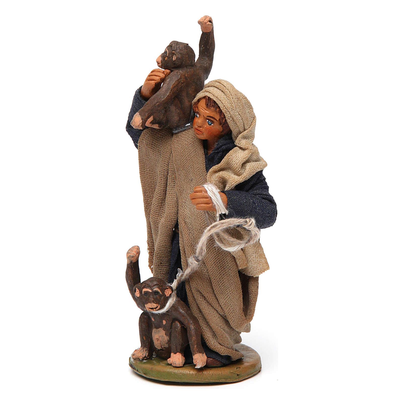 Uomo con scimmie 10 cm presepe napoletano 4