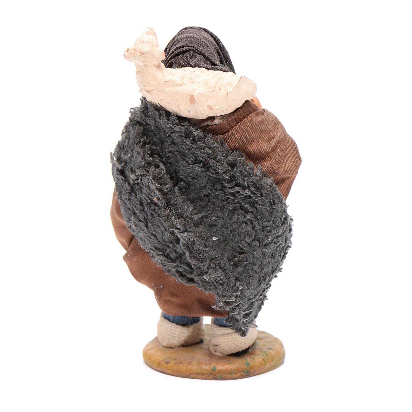 Pastore con pecora sulle spalle 10 cm presepe Napoli 4