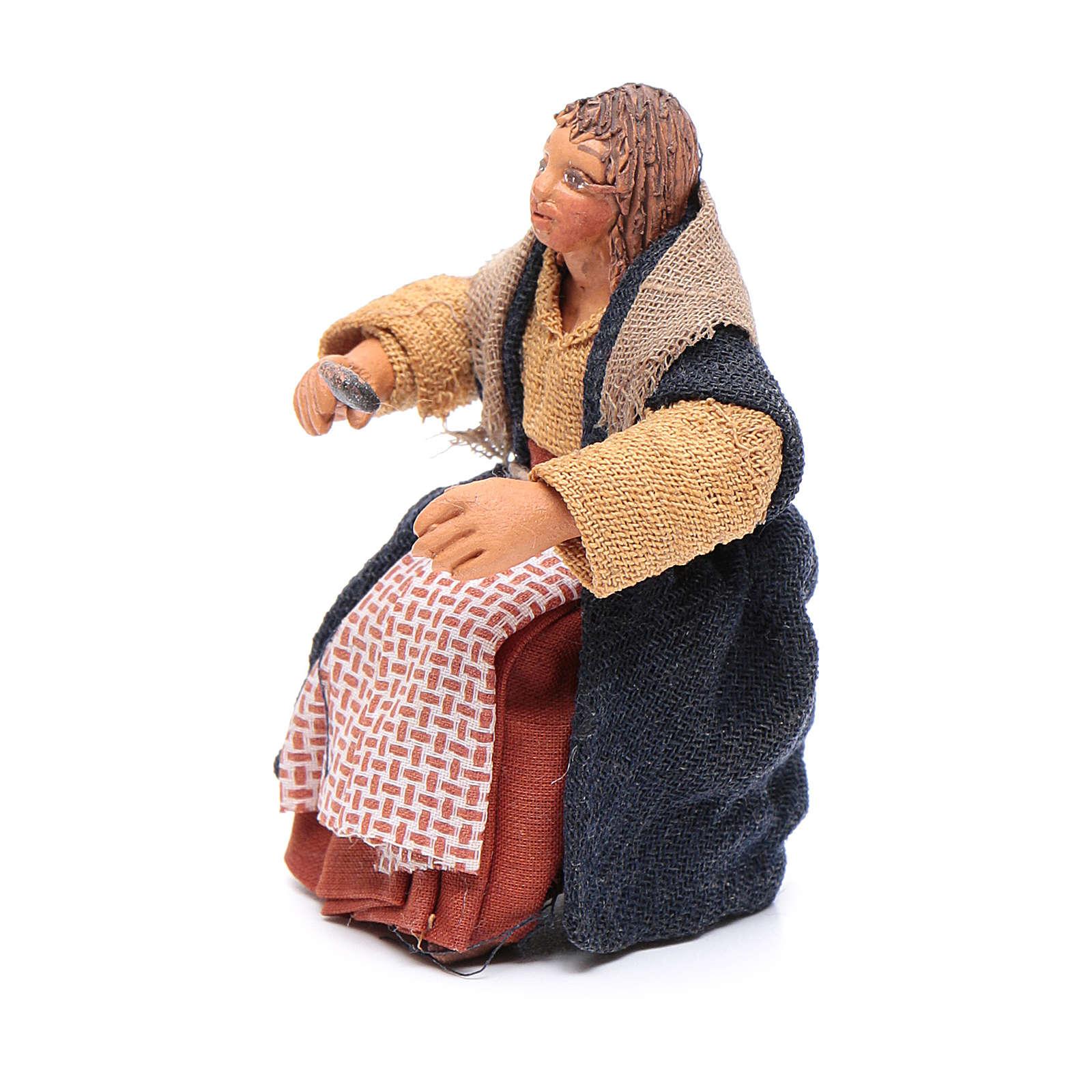 Mujer con cuchara para mesa 10 cm Belén napolitano 4