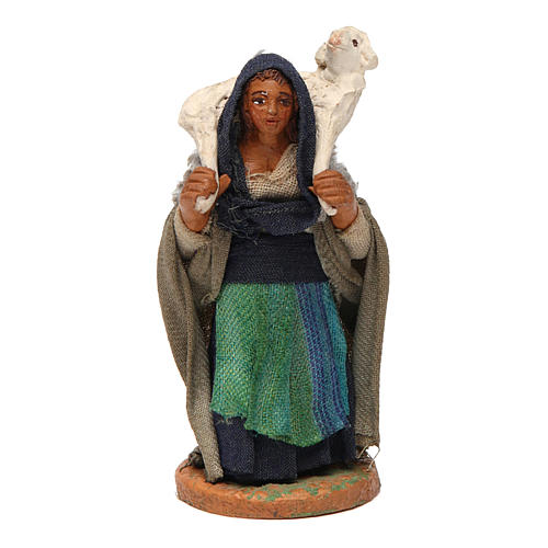 Woman with lamb on shoulders 10cm, Neapolitan Nativity Scene 1