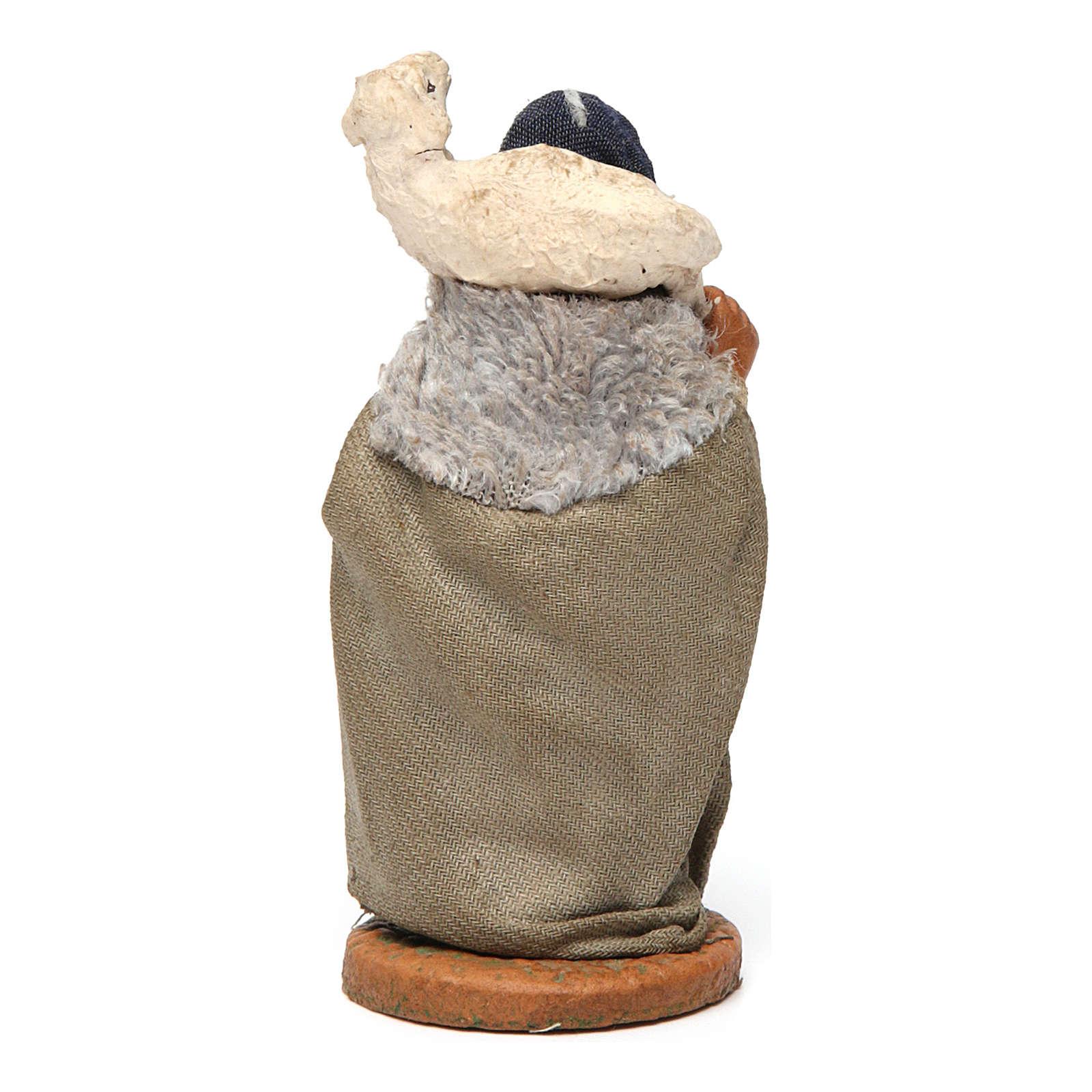 Donna con pecora sulle spalle 10 cm presepe Napoli 4