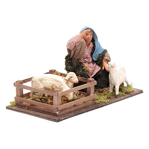Guardián de ovejas con cerca 10 cm Belén napolitano 4