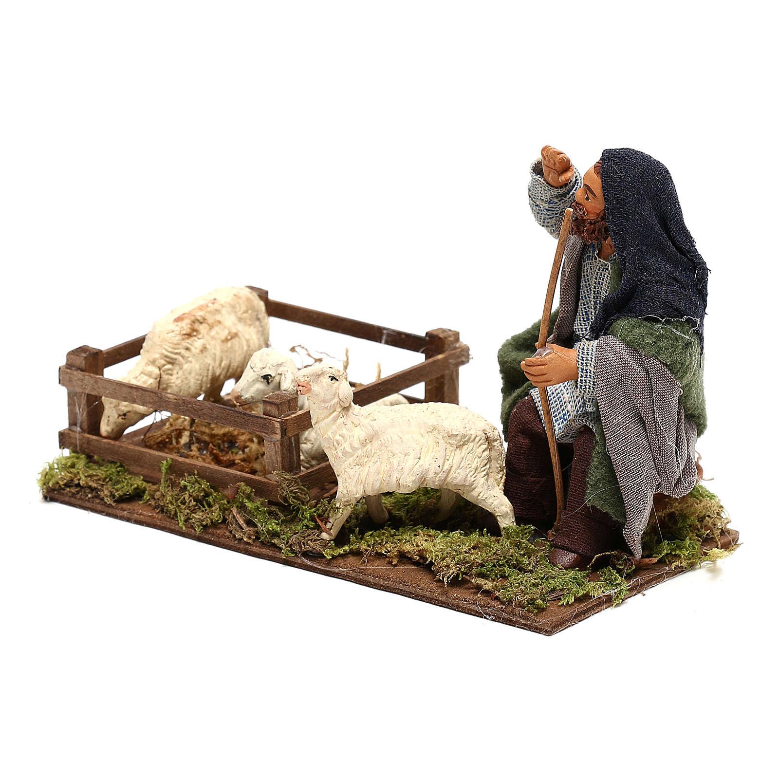 Guardiano pecore con recinto 10 cm presepe Napoli 4