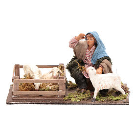 Guardiano pecore con recinto 10 cm presepe Napoli s1
