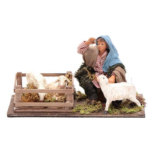 Guardiano pecore con recinto 10 cm presepe Napoli 1